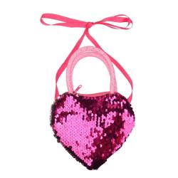 Children Shoulder Cute Sequins Heart Shape Cross-body Handbag A