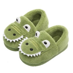 Children's Casual Cotton Shoes Winter Dinosaur Baby Slippers Army Green 14CM