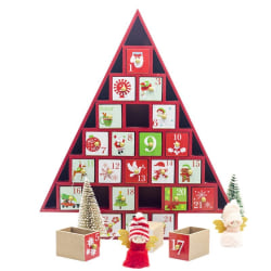 Christmas Countdown Calendar Storage Box Color Cottage House Red