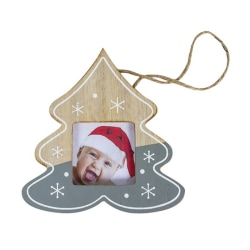 Christmas Tree Hanging Ornaments Wooden Picture Frame with Rope Gray 11x11cm