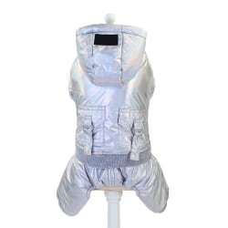 Cool Pet Clothes Thickening Cotton Four-leg Coat With Pocket Silver M