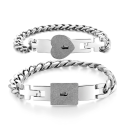 Creative Titanium Steel Couple Bracelet Concentric Lock Silver