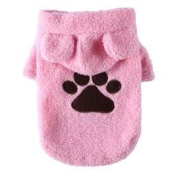 Dog Cat Hoodie Cute Puppy Footprint Printing Warm Clothes Pink XL