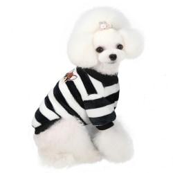 Hund varm randig tröja söt plysch rund hals