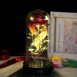 Gold Artificial Rose LED Light String Glass Cover Wooden Base Red