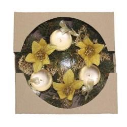 Holiday Candle Holder Christmas Advent Wreath Season Decor Gold