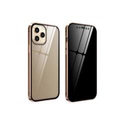 Iphone 12 Magnetisk metall Anti-kikande dubbelsidigt glasfodral gold iphone 12