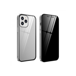 Iphone 12 PROMAX Magnetiskt anti-kikande dubbelsidigt glasfodral SILVER iphone 12 pro MAX