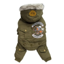 Jumpsuit Dogs Hoodie Coat Thicken Winter Warm Clothes For Teddy green L