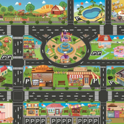 Kids Playmat City Traffic Car Park Play Mat Waterproof as the picture