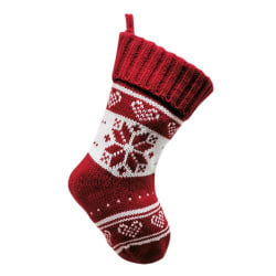 Knitted Christmas Stocking Red And White Snowflake Tree Decor Snowflake