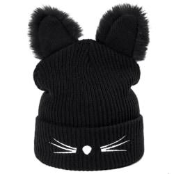 Knitting Warm Wool Hat Cute Beanies Plush Cat Ear Ca