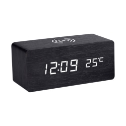 LED Electric Alarm Clock Digital Wooden Clocks wireless Charger A