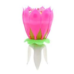 Lotus Flower Music Candles Birthday Cake Decorative Pink