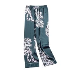 Men Sleep Bottoms Soft Satin Nightgown Pants Crane Print Green 2XL
