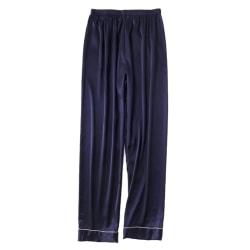 Men's Casual Sleep Bottoms Autumn Silk Loose Home Wear Navy blue L