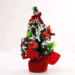 """Mini Artificial Christmas Tree with Ribbon Bow Tabletop Decor Red 7.87"""""""