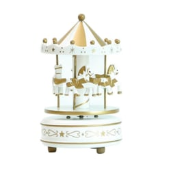 Music Box Hand Painted Wooden Carousel Home Table Decoration White