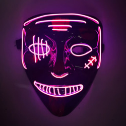 Neon Horror  Mask LED Light  Party Masks Glow in Dark Pink
