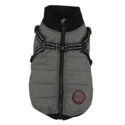 Pet Autumn Winter Zipper Cotton Vest Thickened Waterproof Jacket Gray XS