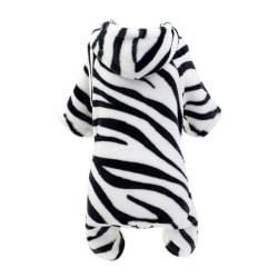 Pet Costume For Winter 4 Legged Zebra Pattern Velvet Clothes Black S