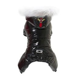 Pet Dog Clothes Winter Thick Four Legs Cotton Coat Black Black M