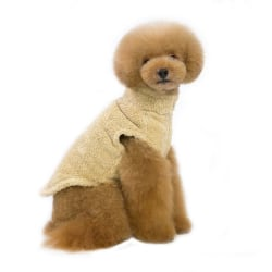 Pet Dogs Cute Warm Casual  Solid Warm Coats with High Collar Brown L