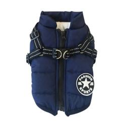 Pet Winter Vest Sleeveless Cotton Padded with Chest Strap Dark blue XL