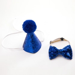 Puppy Hat Dog Birthday Bowknot Collar and Headwear
