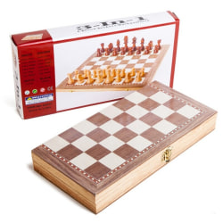 Roman Chess 3 in 1 Wooden 30*30 Can Folding Easy to Carry as the picture 1 Set