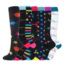 Unisex 7pcs Sports Compression Socks Kit Knee Hosiery D2 L/XL