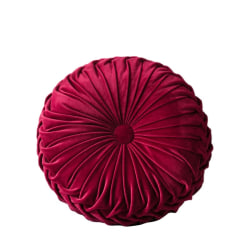 Velvet Pleated Round Pumpkin Throw Pillow Couch Cushion Red