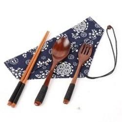 Vintage Wooden Handmade +Spoon+Fork+Cloth Bag Best Gift Black