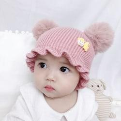 Warm baby Hairball deco wool hooded beanie line hat 0-3year P