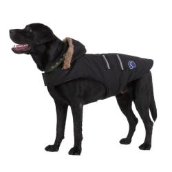 Warm Dog Lattice Pattern Four-bar reflective coat Black M