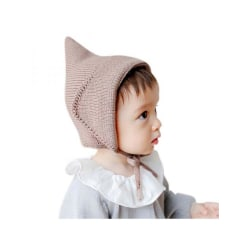 Winter BOYS GIRLS BABY Crochet Warm Knitted Hat Lace-Up Caps Brown