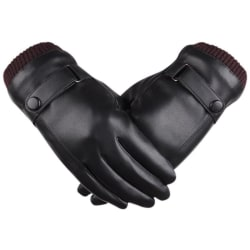 Winter Cycling Gloves Leather Windproof Touch-screen Mitten