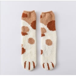 Winter Thick Floor Socks Christmas Tree Decorations Cat Paw Brown khaki