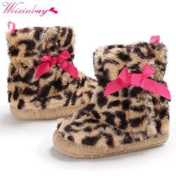 Winter warm baby Leopard cute bow Snowfield shoe Boots 0-18m