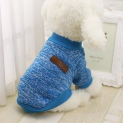 Winter Warm Dog Sweater Puppy Outfit Pet Jacket Coat Soft Blue Blue XS
