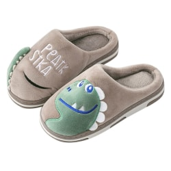 Winter Warming Kids Cartoon Dinosaur Print Indoor Slippers coffee 14cm
