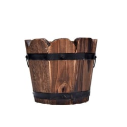 Wooden Flower Barrel Container with Drain Hole for Patio Garden Wave edge large