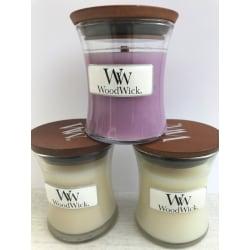 WoodWick Mini x 3 - Fresh Flowers, Baby Powder och Linen