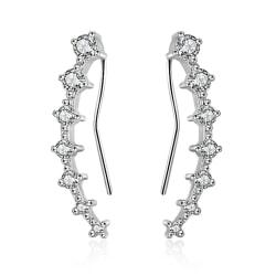 Silverörhänge: earcrawler med vita stenar (stor) silver stor