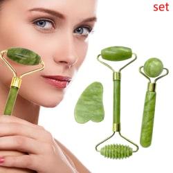 Guasha Facial Jade Roller Face Thin+Body Gua Sha Board Massager  one size