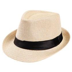 Unisex hatt Män Kvinnor Fedora Trilby Wide Brim Straw Cap Beach Sun
