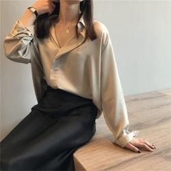 kvinna elegant sommar imitation siden långärmad damskjorta till Apricot S