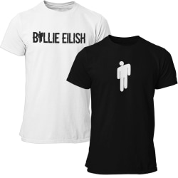 2st t-shirts med Billie Eilish tryck -  svart & vit T-shirt  164