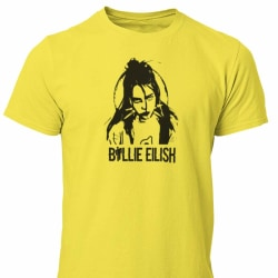 Billie Eilish t-shirt i gul - Cutout design unisex 9-11år 140cl