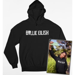 Billie Eilish text svart Hoodie huvtröja sweatshirt t-shirt Small